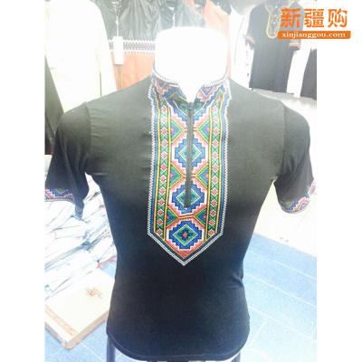 民族风服饰手工绣花衬衣男女莫代尔棉 民族 维族民族服装