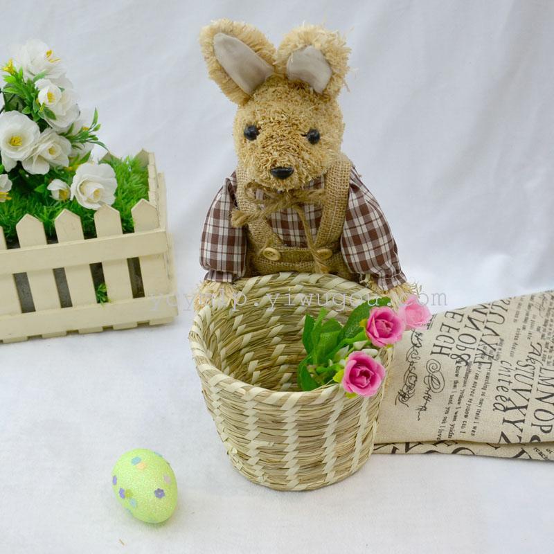 手工草编工艺品篮子 家居装饰兔熊摆件 收纳筐