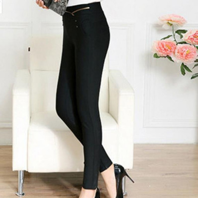 2016 new high waisted trousers wear Korean slim brocade Rome pencil pants factory outlet 8803