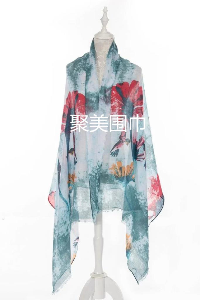 现货韩国棉围巾扎染荷花印花图案大围巾披肩 沙滩巾防晒