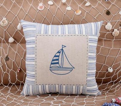 Plain sailing cotton and linen pillow series sofa cushions Mediterranean creative home pillowcases