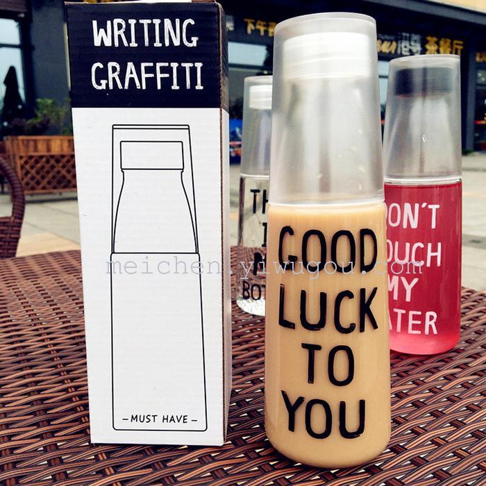 韩国日系创意简约汽水瓶英文字母潮流塑料随手