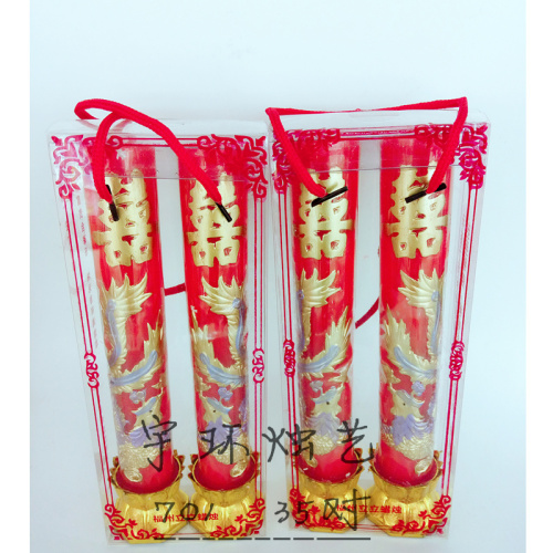 Gold Color Dragon And Phoenix Candles Red Wedding Words Hy On Chinese