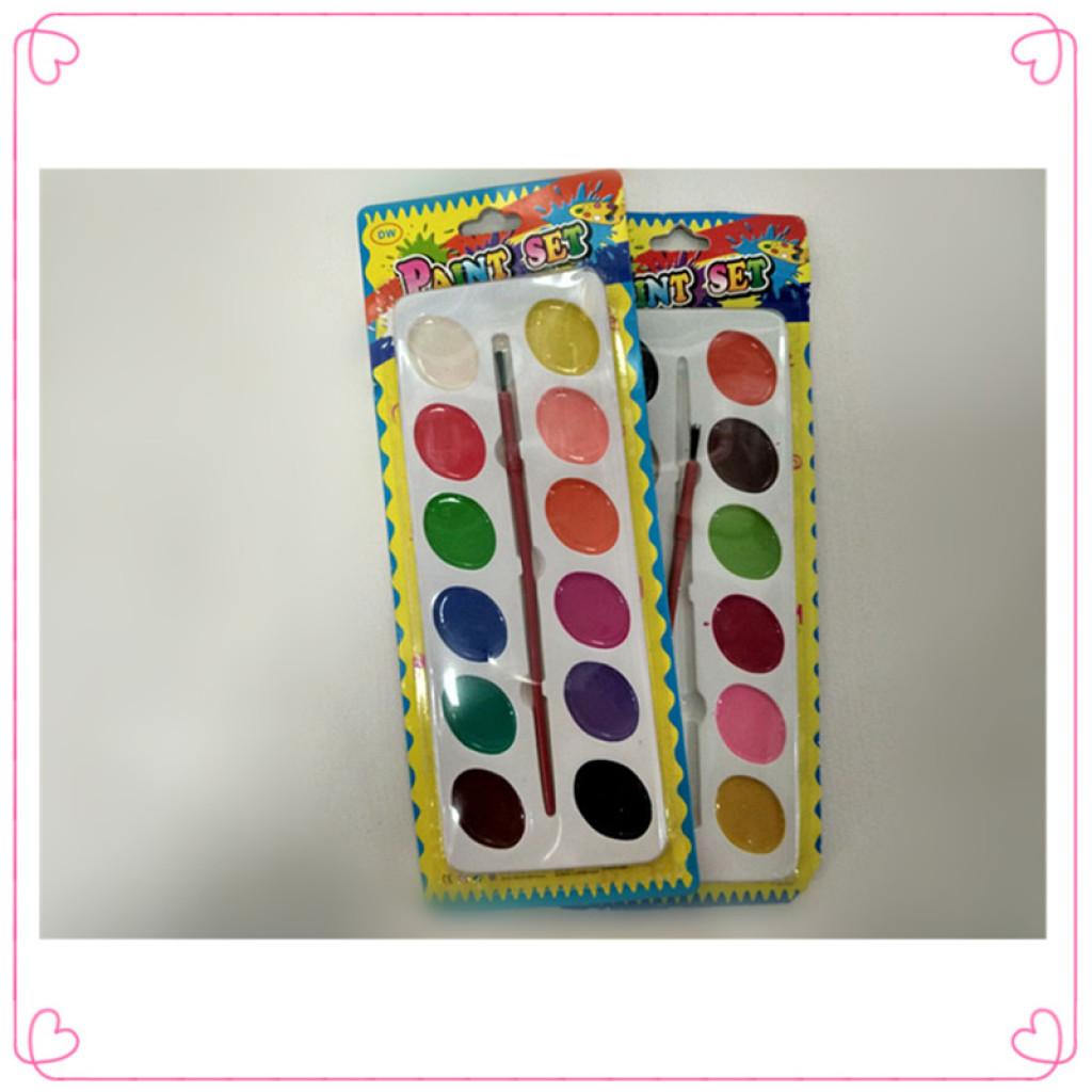 12色水彩画水彩画の中の乾燥水彩絵の具ペンキ塗装材料の子供の落書き