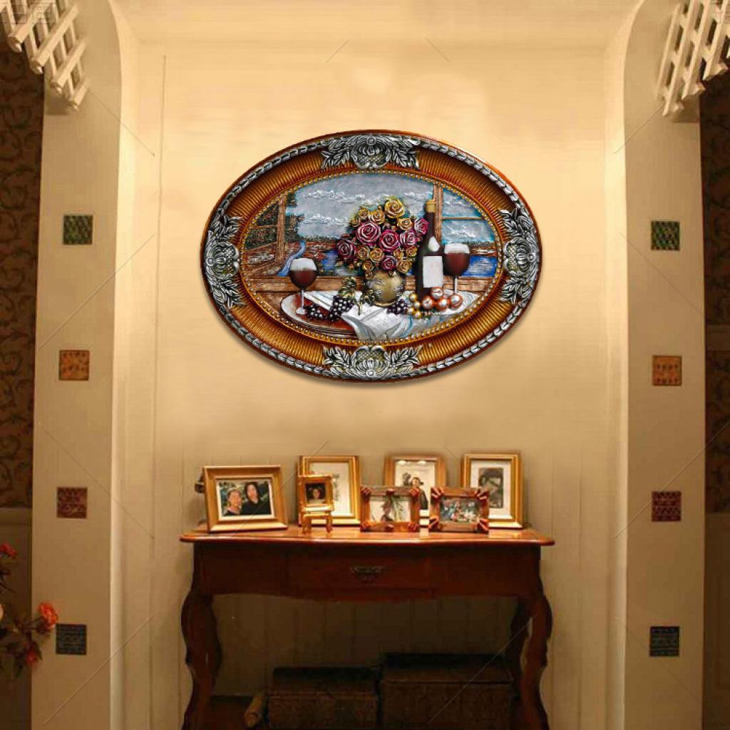椭圆系列沙发背景墙画欧式墙壁画立体浮雕油画