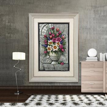 竖版玄关装饰画欧式有框立体浮雕画走廊过道壁画