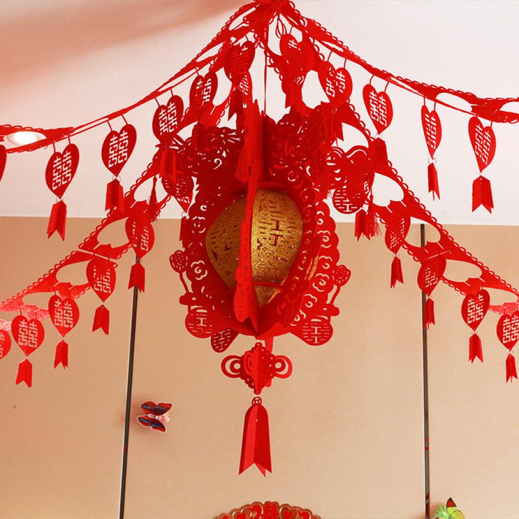 婚庆婚房装饰布置无纺布灯笼吊挂创意喜字宫灯拉喜