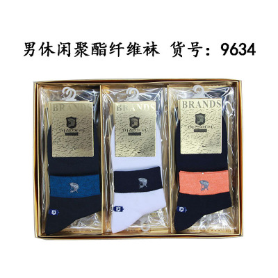 The new spring and summer 9634 men's casual socks embroidery color thin socks colorful socks