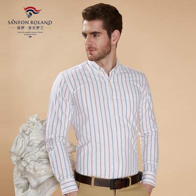 Paul fall Oxford new clothes Cotton Striped men's long sleeved shirt business casual men's shirt