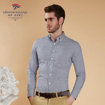 Paul Shengfu Rolland fall new cotton fine Plaid long sleeved shirt pocket casual shirt