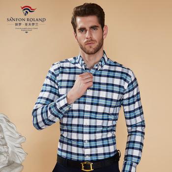 Paul Shengfu Rolland fall new cotton plaid shirt business casual shirt DP