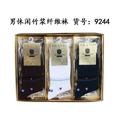 Spring, summer new, breathable, short tube, 9244, male, socks, embroidered, antibacterial, socks, bamboo fiber,