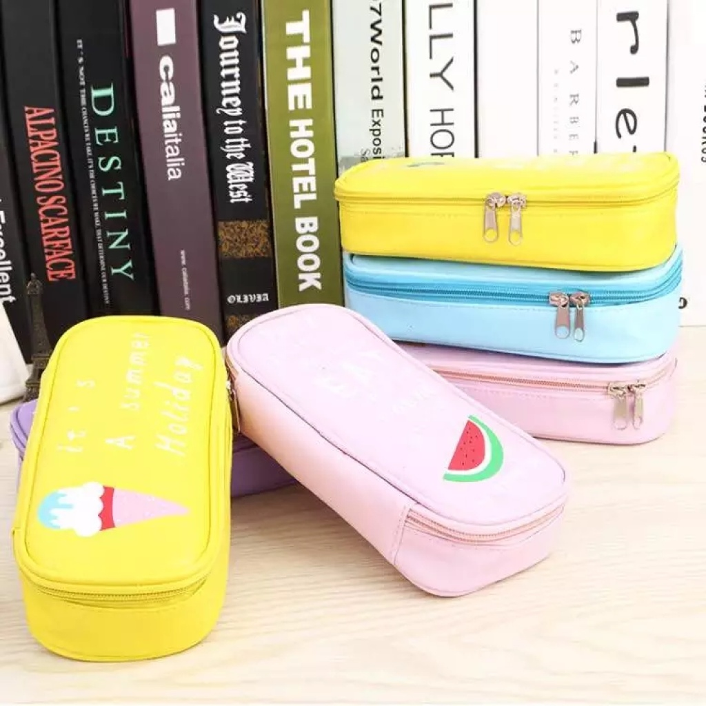 韩国笔袋男女生简约文具袋 创意水果学生大容量铅笔袋糖果色笔袋