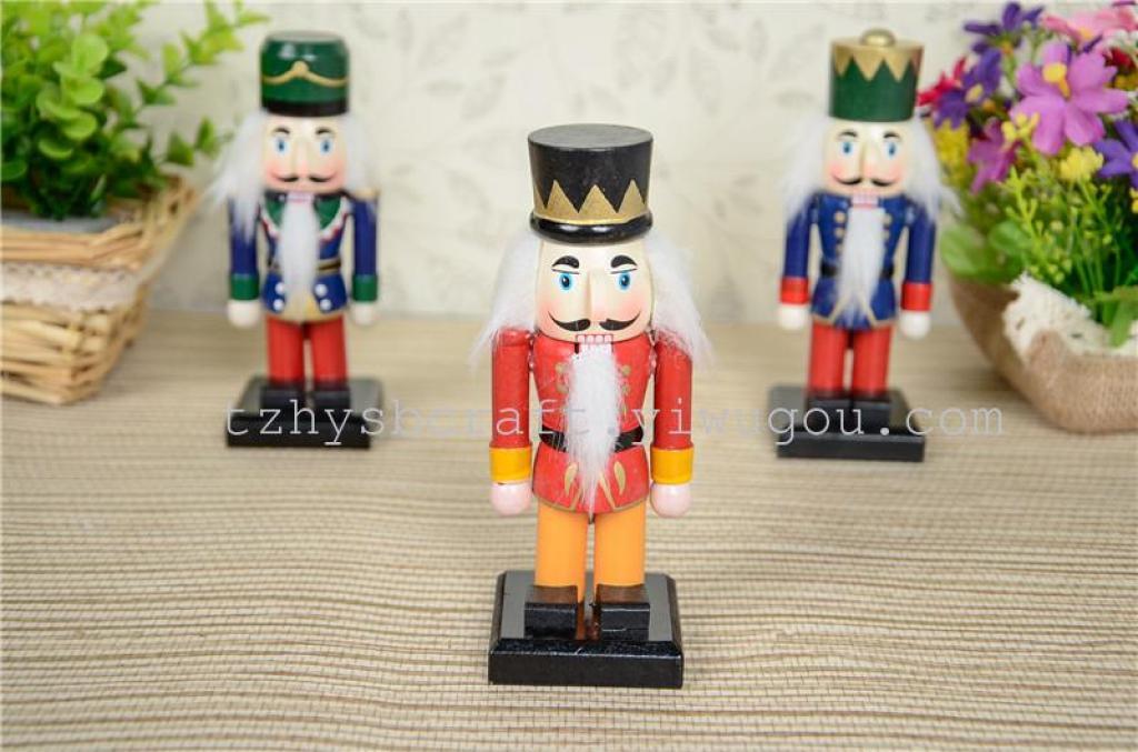 圣诞工艺品木偶15cm胡桃夹子士兵摆件