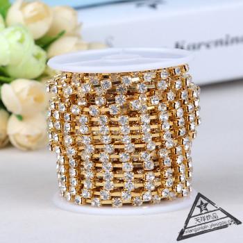 Rhinestone diamond chain clothing accessories dense claw chain accessories jewelry copper chain