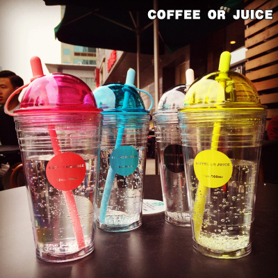 South Korea trend straw plastic cup creative personality double cup of coffee and tea drinking juice juice cup