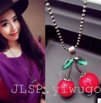 All-match cherry red sweater chain necklace Long Necklace Korea explosion
