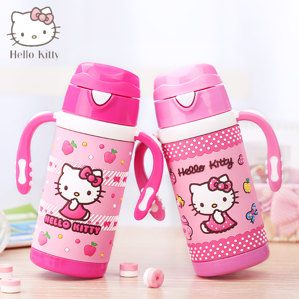 supply hello kitty baby child cup insulation cup with handle stainless steel cup baby girls. Black Bedroom Furniture Sets. Home Design Ideas