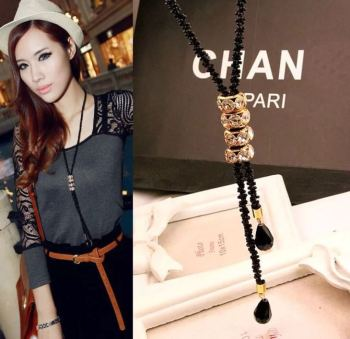 South Korea sweater chain crystal piece Girl Long Necklace all-match fashion sweater chain