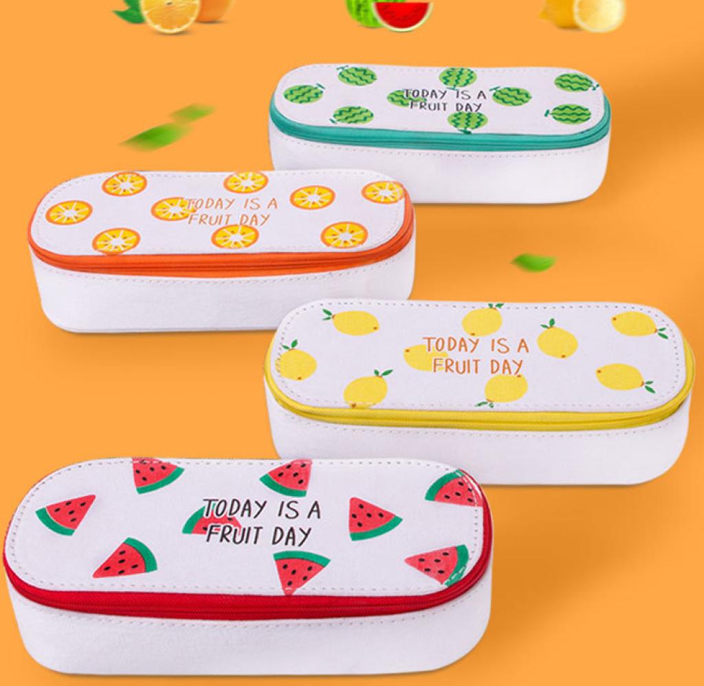 创意韩国文具 小清新水果 可爱帆布大容量简约文具盒笔袋