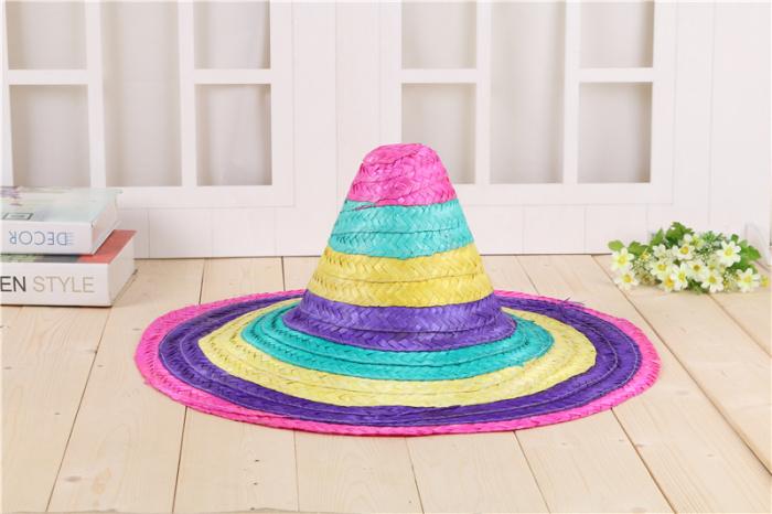 墨西哥蘑菇表情彩色大檐48cm复活节剪头草帽帽子头民族高清包图片
