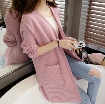 Ladies winter coat sweater sweater slim cardigan loose in the long section of color
