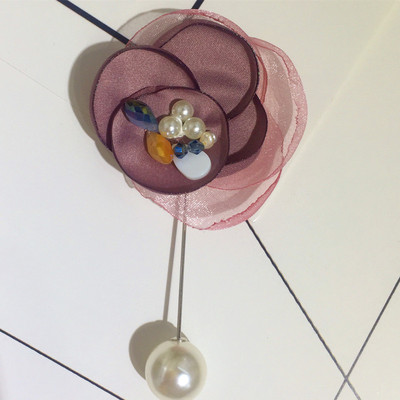 A pin pin shawl Korean silk yarn fabric flower burning pearl brooch brooch