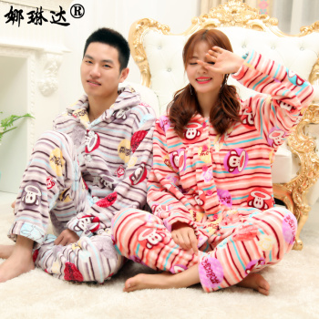 Flannel pajamas cardigan suit dress Home Furnishing couple