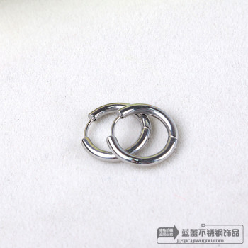 Simple tubular type titanium stainless steel earrings and ear ring