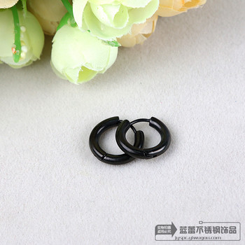 Titanium Stainless Steel Earrings Black simple tubular ring ear ring