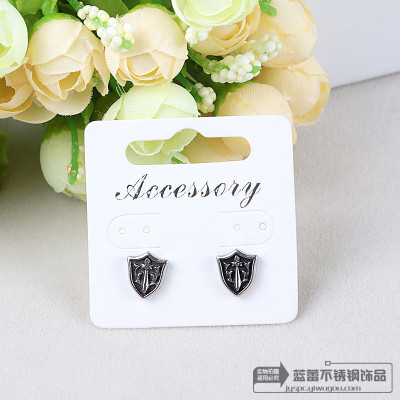 Fashion titanium shield medical steel titanium casting stainless steel stud earrings retro fashion