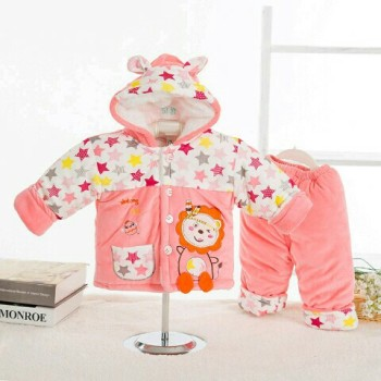 Autumn and winter men and women aged 0-1 baby infant clothes in winter coat suit children thickened coat