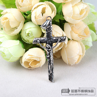 Retro titanium Cross Necklace Pendant Jesus Catholic men