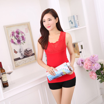 Autumn and winter's double seamless thermal vest with thick warm coat cashmere female wear underwear lace