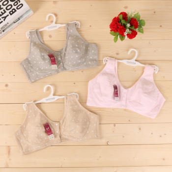 Cotton breathable comfortable small floral no steel ring sponge vest bra, middle and old bra
