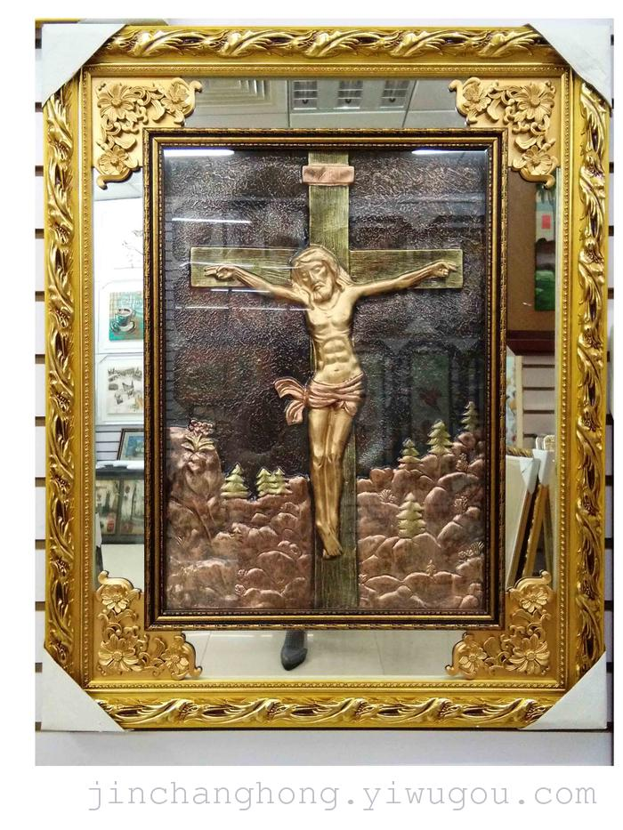 实木外框 玻璃 ps发泡内框 密度板      产品名称:宗教人物仿铜画