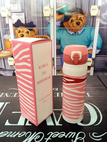 Cups bear pink and white zebra personality straight drink cup insulation cup braised beaker men and women children cup