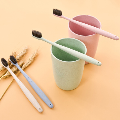 The family and the wheat straw soft adult toothbrush creative household bamboo charcoal super soft Merino couple
