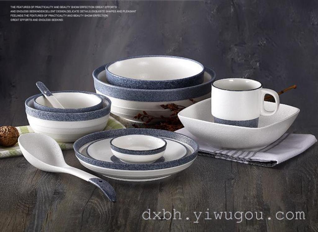 陶瓷日式餐具套装 雪花釉碗盘 餐具 碗碟套装 外贸出口日本图片