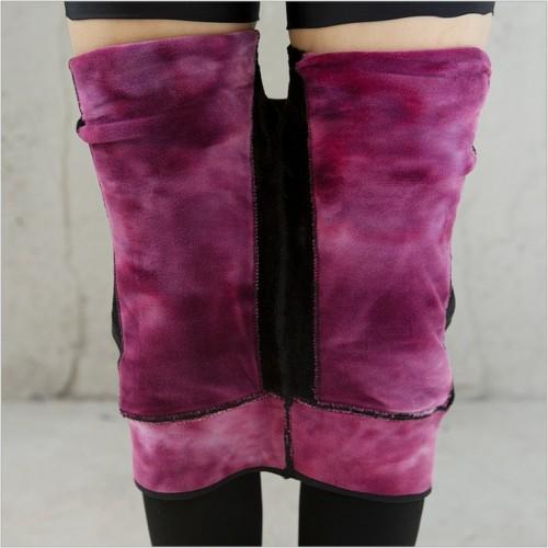 Winter plus velvet Leggings thickened waist warm pants pants one knee