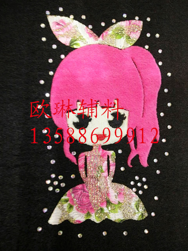 The drill may red hair bow girl thermal transfer mask / Jeans / Kids / Leggings press