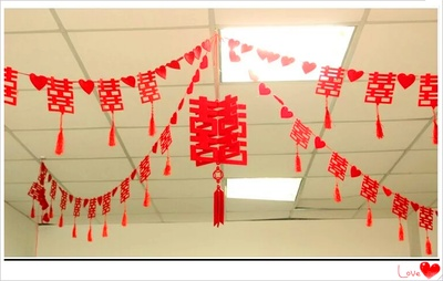 Creative wedding Double Happiness flower curtain fabric