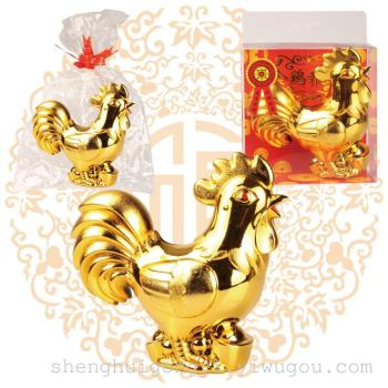 Office decoration decoration crafts auspicious Wangcai plastic chicken opening housewarming gift