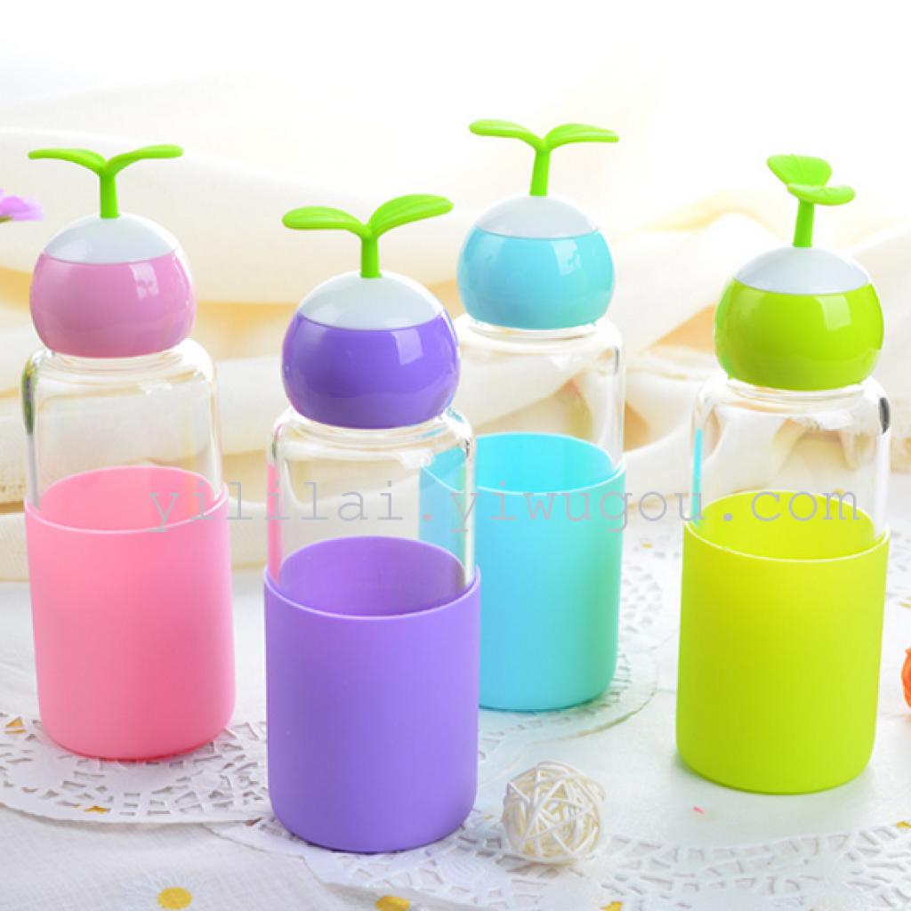 随手玻璃杯创意情侣水杯便携学生柠檬茶杯女可爱豆芽长草杯