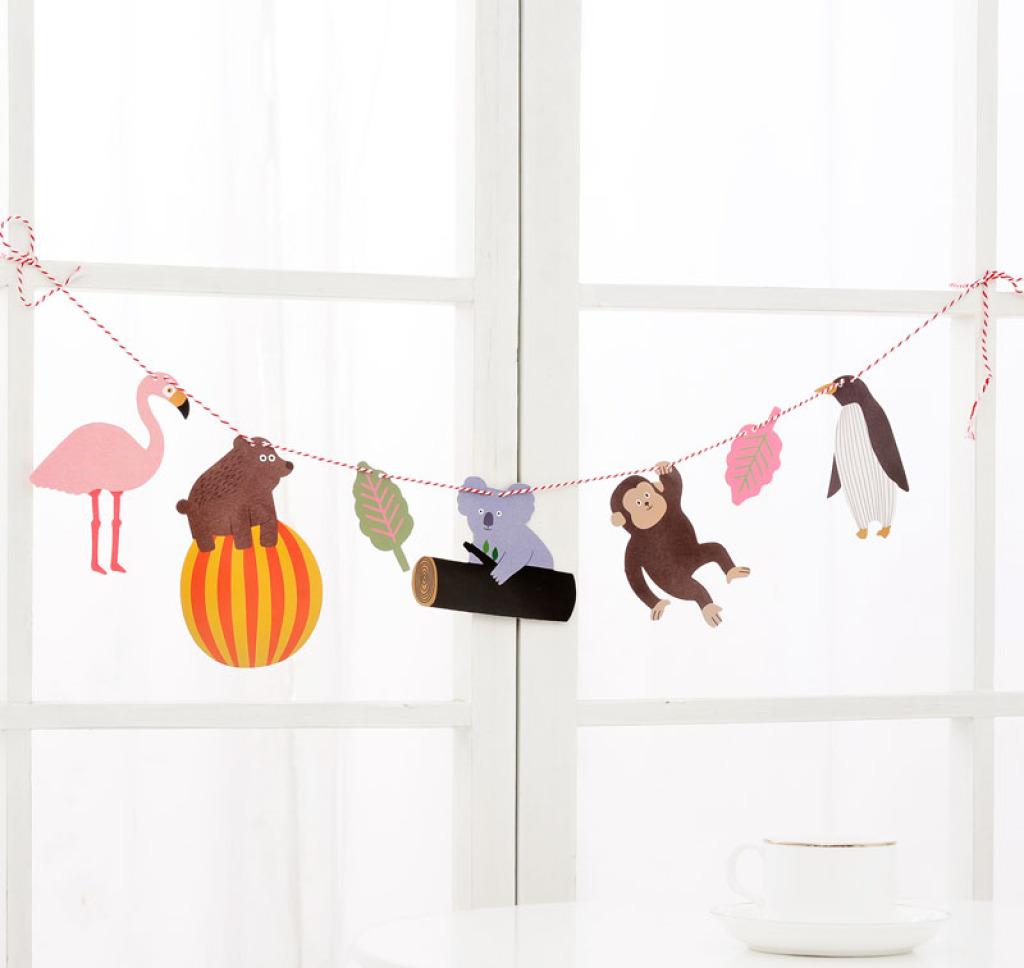 韩版超可爱小动物diy拉花 彩条装饰 派对节庆挂饰小旗 现货