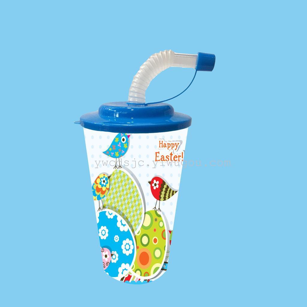 批发定制 创意塑料杯 促销宣传杯 饮料杯 复活节可爱卡通杯