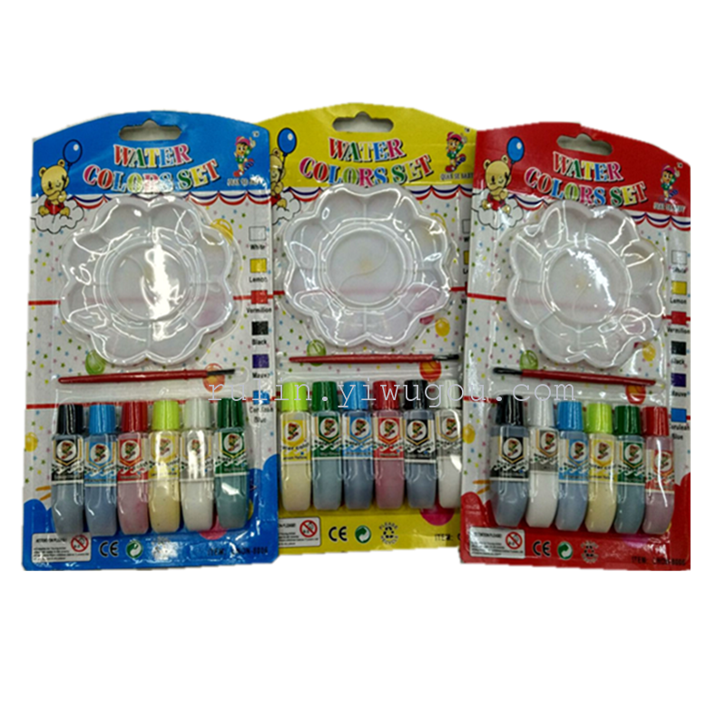 6色の水彩ガッシュアクリル水膨れカード子供の絵