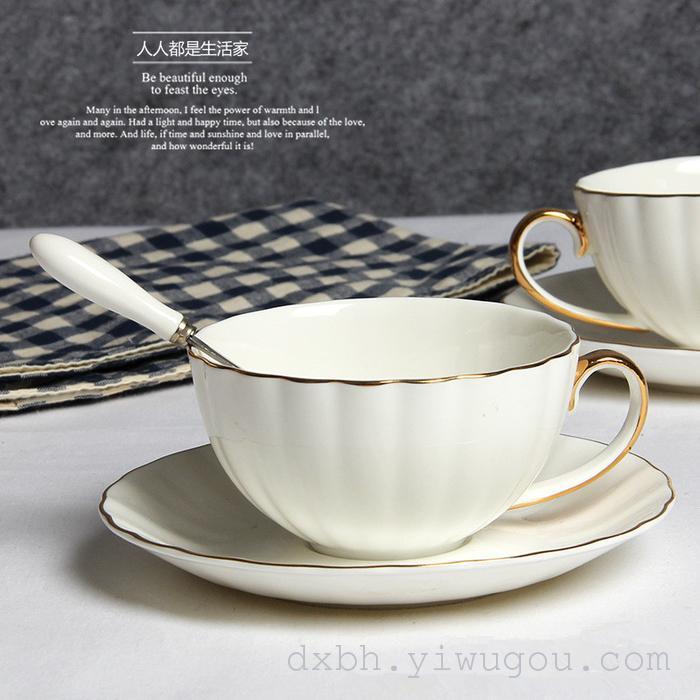 骨瓷南瓜金边花茶具套装 欧式白色陶瓷咖啡杯碟下午茶