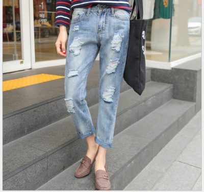 Autumn new style krorean Version Aging treatment hole style girl women Jeans cropped pants