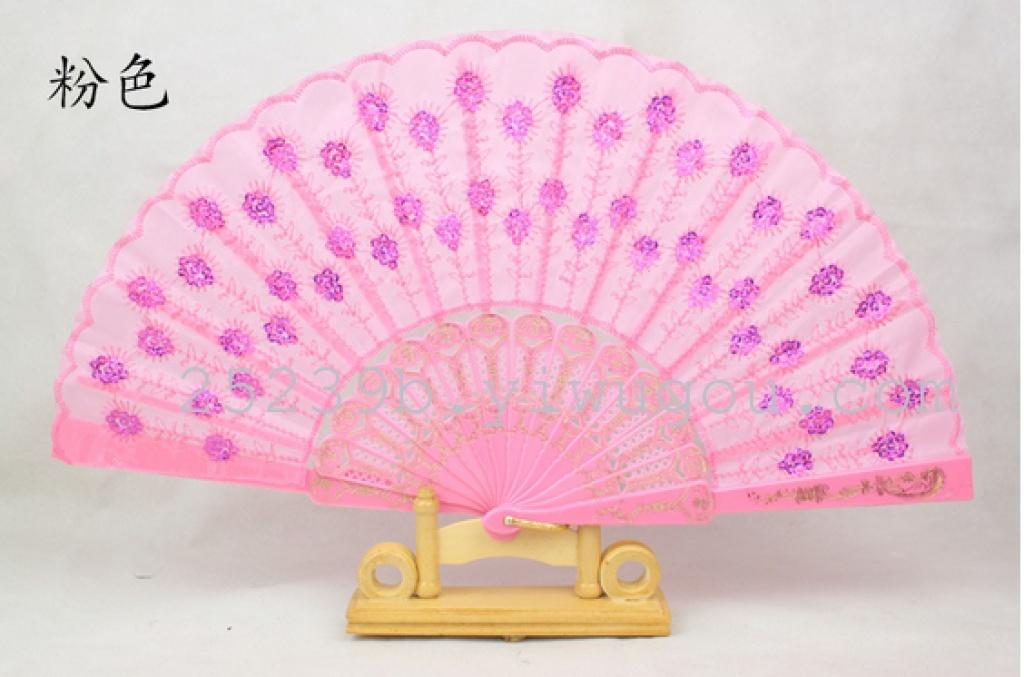 西班牙塑料扇子刺绣亮片扇子孔雀尾纯色烫金中国风彩杆